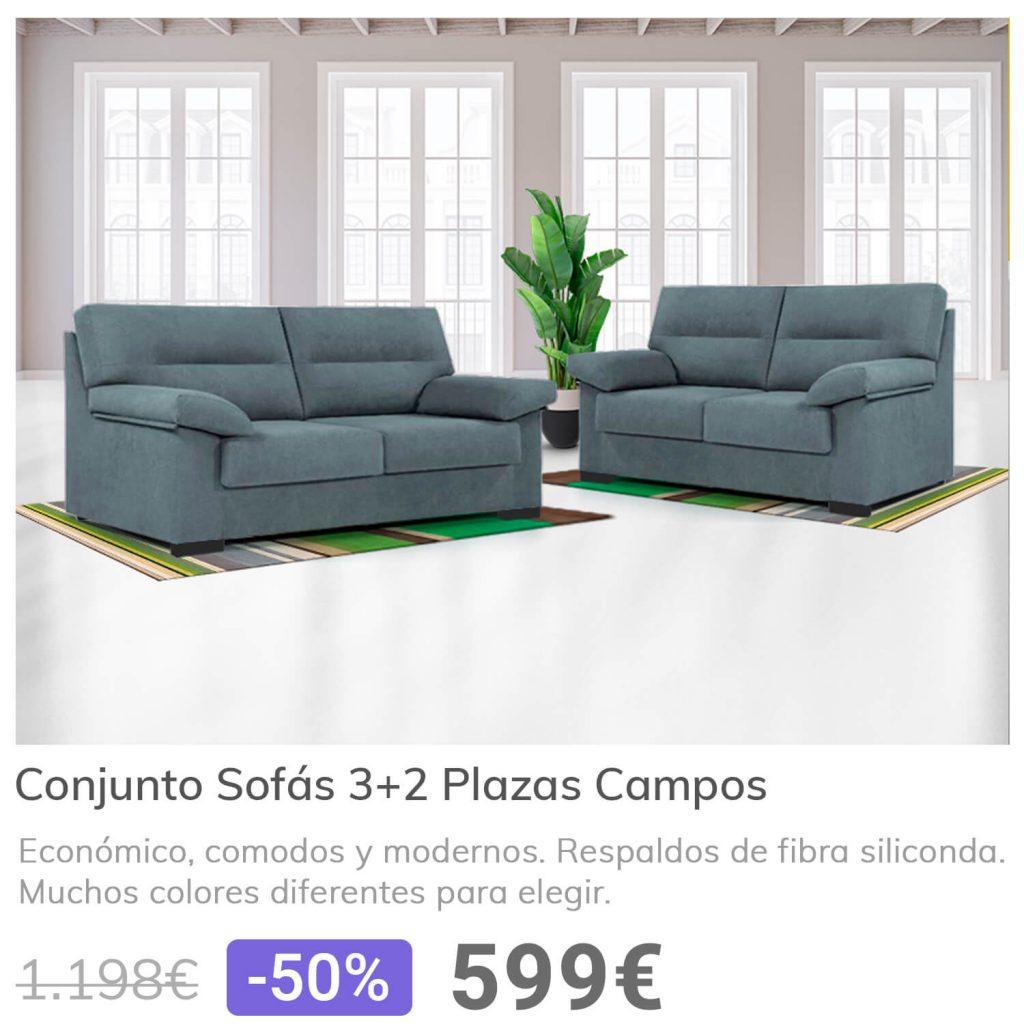 Lo mas vendido sofas 3 y 2 plazas campos| La Tienda 3Bs