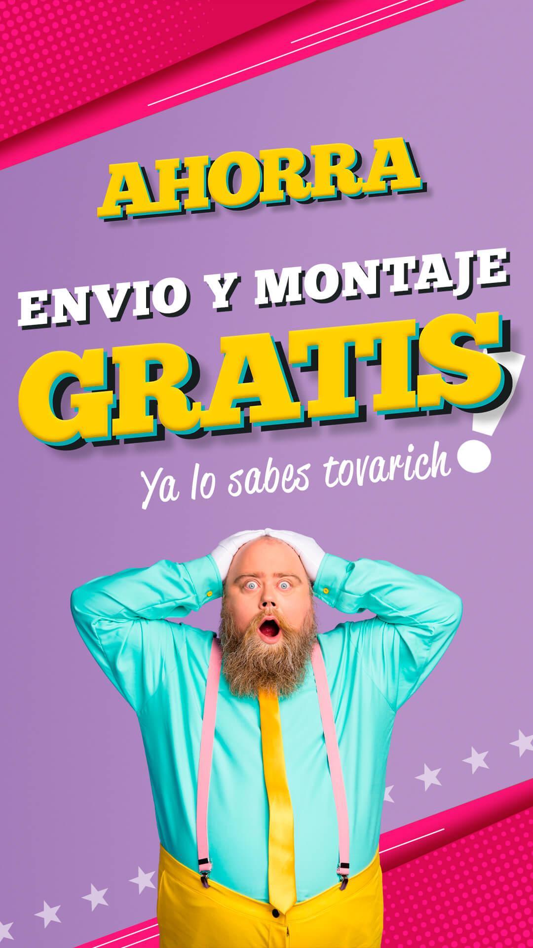 banner promo ahorra o nunca envio y montaje gratis LaTienda3Bs Vertical